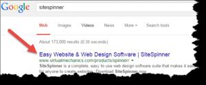 SEO Results for SiteSpinner Website Design Software