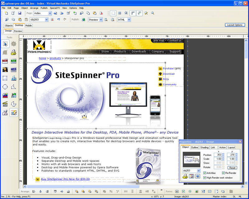 Click to view SiteSpinner Pro Website Software 2.91 screenshot